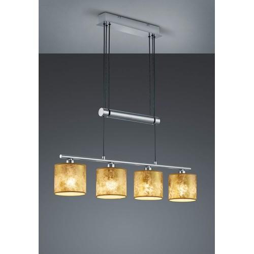 Lampa wisząca nowoczesna z abażurami Garda IV Złoty/Nikiel Mat Trio do salonu