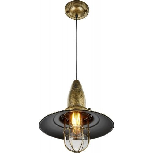 Industrialna Lampa wisząca rustykalna Fisherman 32 Patyna Trio do sypialni
