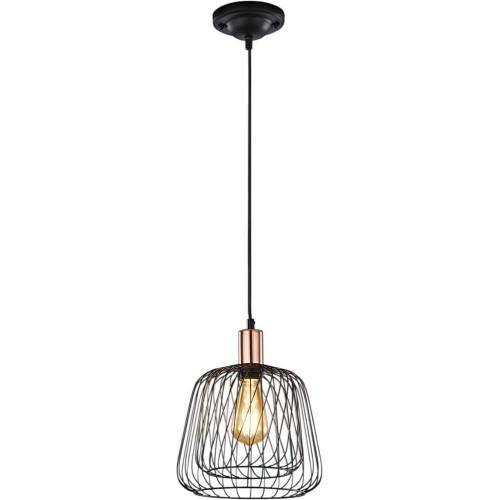 Dekoracyjna Lampa druciana wisząca Sanna 25 Czarna Trio do salonu
