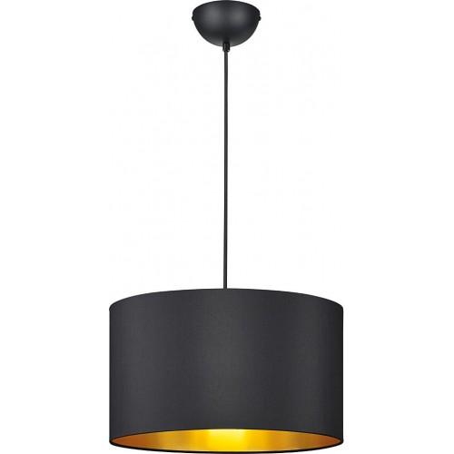 Nowoczesna Lampa wisząca okrągła z abażurem Hostel 40 Czarny Mat Trio do salonu