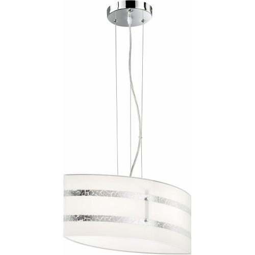 Lampa wisząca szklana glamour Nikosia 50 Biały/Chrom Trio do sypialni