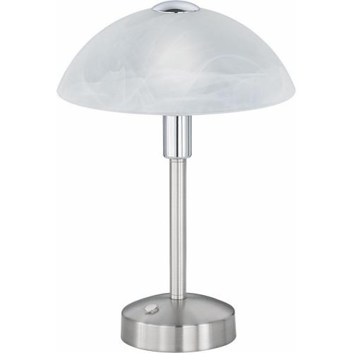 Stylizowana Lampa stołowa antyczna Donna Biały/Nikiel Mat Trio do hotelu i restauracji.