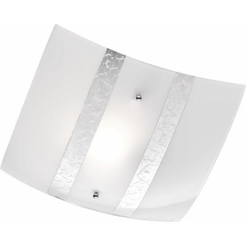 Glamour Plafon szklany kwadratowy Nikosia 30 Biały/Srebrny Trio do sypialni