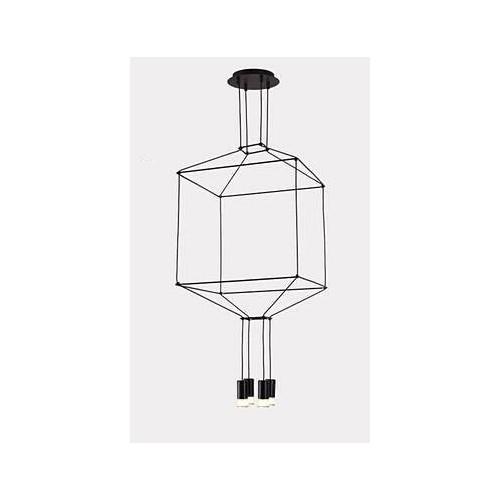 Lampa wisząca designerska 4 punktowa Linea 4 45 Czarna Step Into Design do salonu
