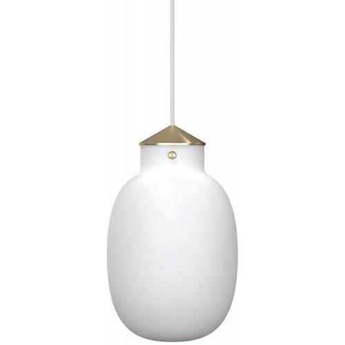 Glamour Lampa wisząca szklana Raito 22 Oval Biała Dftp do sypialni