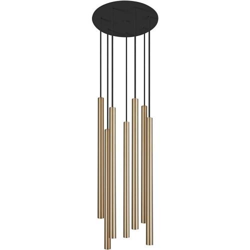 Stylowa Lampa wiszące tuby glamour Laser 30 Czarny/Mosiądz Nowodvorski nad stół lub wyspę kuchenną.