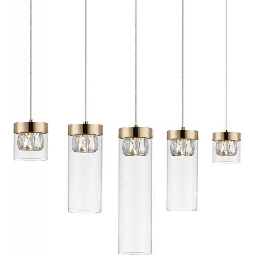 Lampa wisząca szklana glamour GEM V przeźroczysty/złoty ZumaLine do sypialni