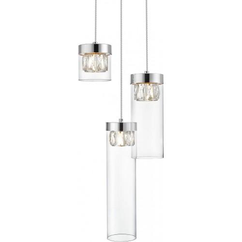 Lampa wisząca szklana glamour GEM III przeźroczysty/srebrny ZumaLine do sypialni