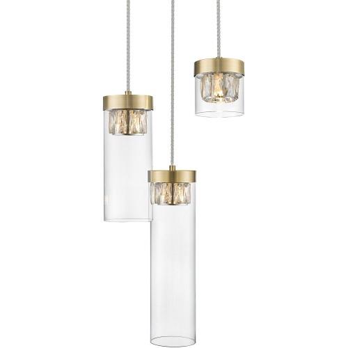 Lampa wisząca szklana glamour GEM III przeźroczysty/złoty ZumaLine do sypialni