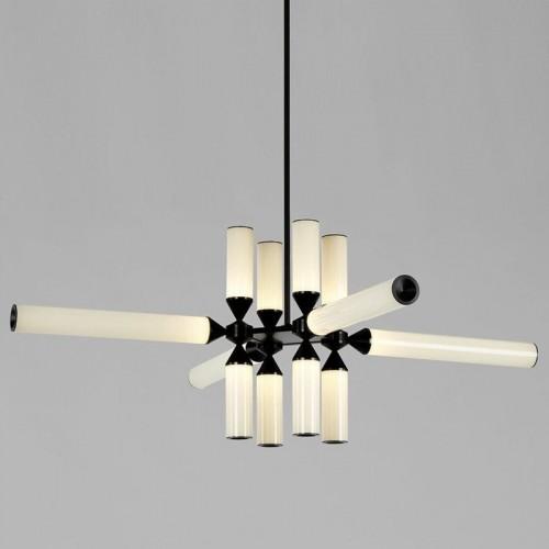 Lampa wisząca szklana designerska Quadro LED Czarno-Biała Step Into Design do salonu