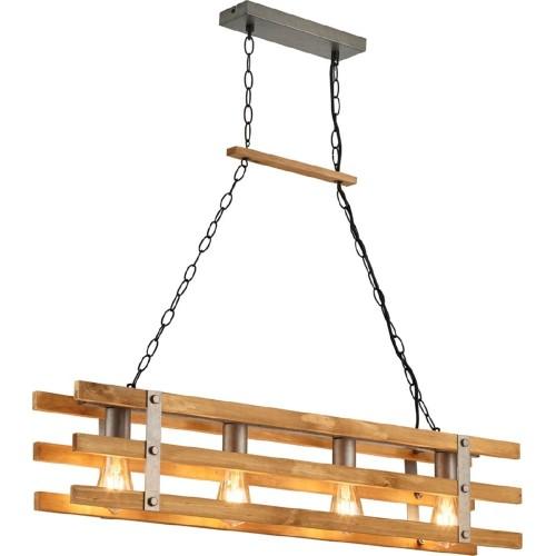 Lampa drewniana wisząca Khan 100 Drewno/Nikiel Trio nad stół i wyspę kuchenną.
