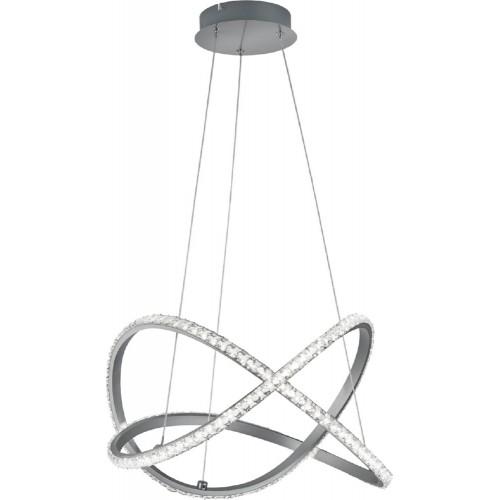 Lampa wisząca nowoczesna Rubin z pilotem RGBW-LED 50 Aluminium szczotkowane Trio do salonu