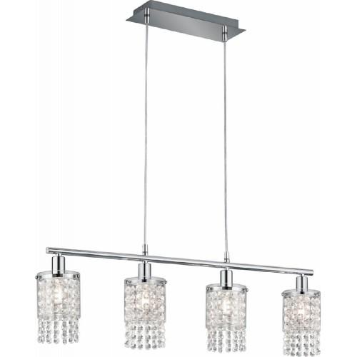 Glamour Lampa wisząca szklana z kryształkami Posh 80 przezroczysty/chrom Trio do sypialni