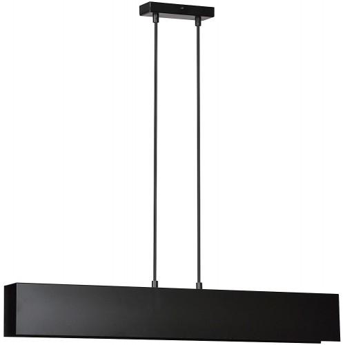 Minimalistyczna Lampa wisząca metalowa belka Gentor 72 czarna Emibig do kuchni i nad stół.
