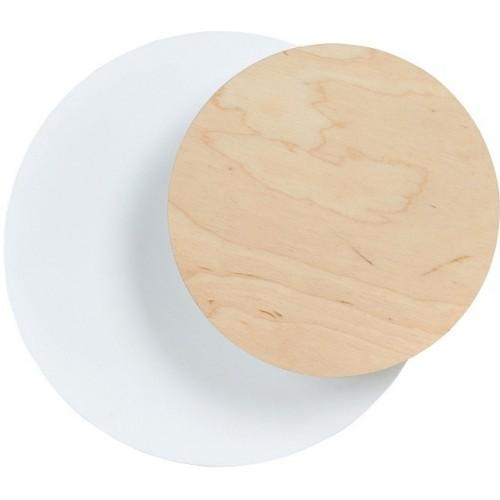 Stylowy Kinkiet okrągły skandynawski Circle 22 biało-drewniany Emibig do sypialni i przedpokoju.