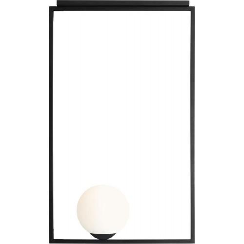 Designerska Lampa sufitowa szklana kula Frame Black Pionowa rama biało-czarna Aldex do salonu i kuchni.