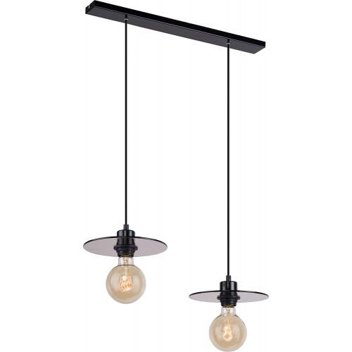 Dekoracyjna Lampa wisząca szklana podwójna Dysk 50 szkło dymione/czarny Aldex do salonu