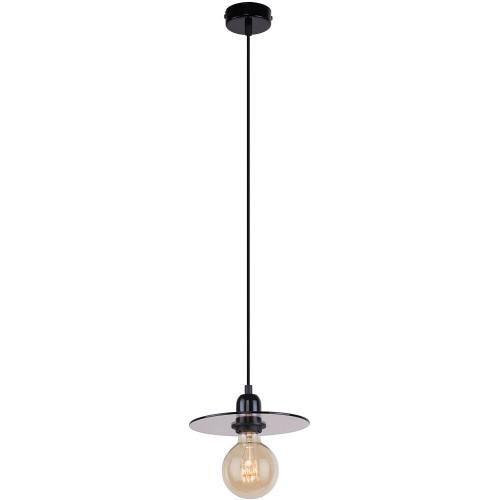 Dekoracyjna Lampa wisząca płaska szklana Dysk 20 szkło dymione/czarny Aldex do salonu