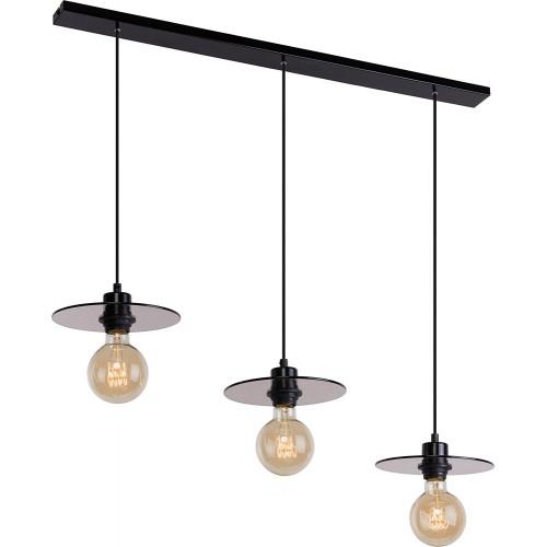 Dekoracyjna Lampa wisząca szklana potrójna Dysk 80 szkło dymione/czarny Aldex do salonu