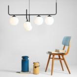 Designerska Lampa sufitowa szklane kule Artemida V biało-czarna Aldex do salonu i kuchni.