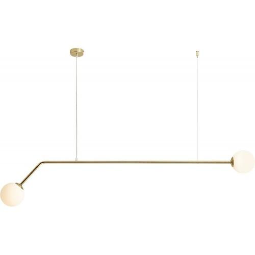 Glamour Lampa wisząca 2 szklane kule Pure Gold 150 biało-złota Aldex do sypialni