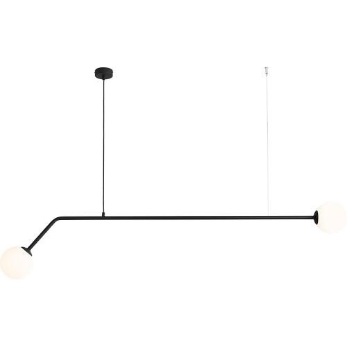 Designerska Lampa wisząca 2 szklane kule Pure Black 150 biało-czarna Aldex do salonu