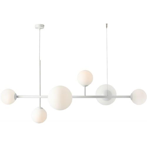 Designerska Lampa wisząca szklane kule Dione 130 biała Aldex do salonu