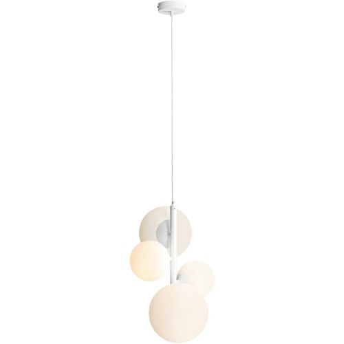 Designerska Lampa wisząca 4 szklane kule Balia biała Aldex do salonu
