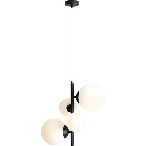 Designerska Lampa wisząca 4 szklane kule Balia biało-czarna Aldex do salonu