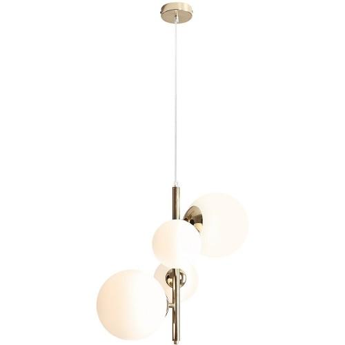 Designerska Lampa wisząca 4 szklane kule Balia biało-złota Aldex do salonu