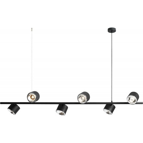 Stylowa Lampa wisząca podłużna 6 punktowa Bot 161 czarna Aldex nad stół