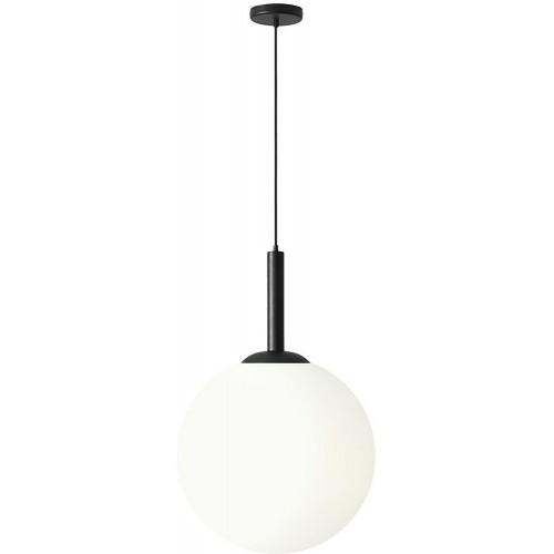Designerska Lampa wisząca szklana kula Balia 50 biało-czarna Aldex do salonu