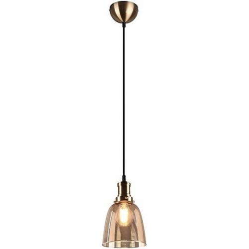 Dekoracyjna Lampa szklana wisząca retro Vita 14 bursztynowa Trio do salonu, kuchni i sypialni.