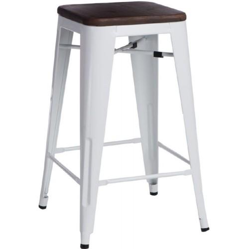 Hoker metalowy z drewnianym siedziskiem Paris Wood 75 biały/sosna orzech D2.Design do kuchni