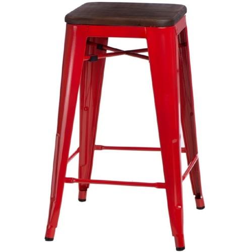 Hoker metalowy z drewnianym siedziskiem Paris Wood 75 czerwony/sosna orzech D2.Design do kuchni