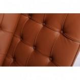 Stylowa Sofa skórzana pikowana 3 os. BA3 180 jasny brąz D2.Design do salonu