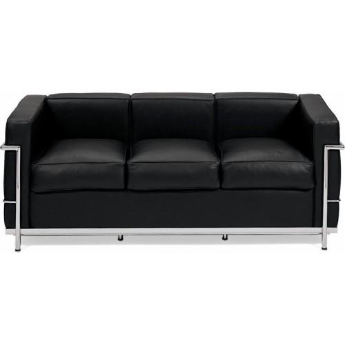 Stylowa Sofa skórzana 3 osobowa Kubik 180 czarna D2.Design do salonu