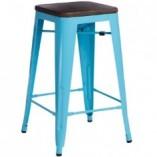 Hoker metalowy Paris Wood 65 sosna orzech/niebieski D2.Design do kuchni