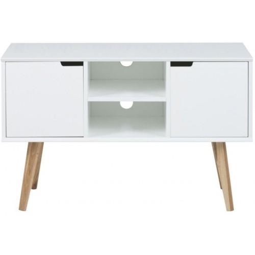 Szafka RTV skandynawska na nóżkach Mitra 96 biała D2.Design pod telewizor do salonu i sypialni.