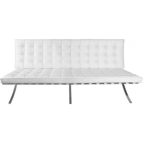 Stylowa Sofa pikowana z ekoskóry BA2 150 biała D2.Design do salonu