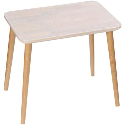 Prostokątny stolik kawowy skandynawski Scandi White dąb bielony/dąb 47 MoonWood do salonu