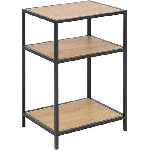 Stylowy Regał industrialny z półkami Seaford I dąb/czarny Actona na książki do sypialni i salonu.