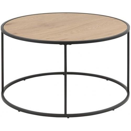 Industrialny stolik kawowy okrągły loft Seaford 80 dąb/czarny Actona do salonu i poczekalni.