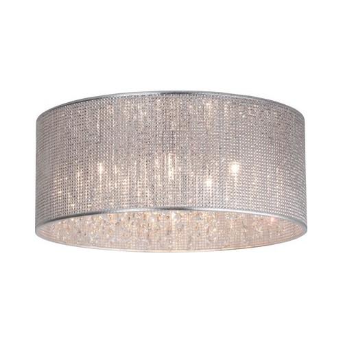Stylizowany Plafon okrągły glamour z kryształkami Dubai 46 Chrom Brilliant do sypialni