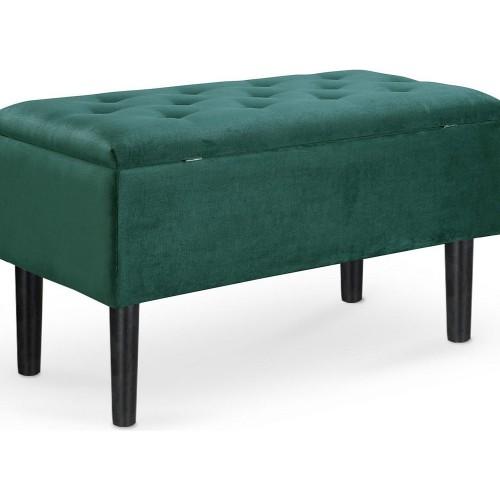 Stylowa Ławka pikowana ze schowkiem Cleo ciemno zielona Halmar do przedpokoju i salonu.
