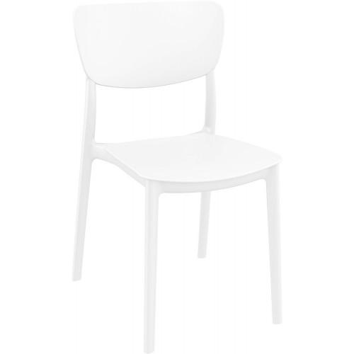 Stylowe Krzesło z tworzywa Monna białe Siesta do stołu.