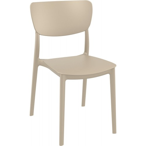 Stylowe Krzesło z tworzywa Monna beżowe Siesta do stołu.