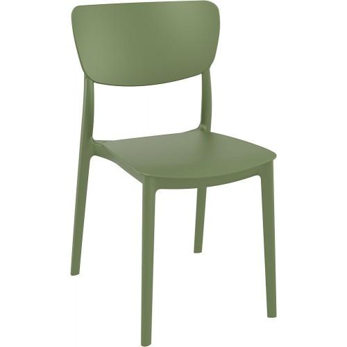 Stylowe Krzesło z tworzywa Monna oliwkowe Siesta do stołu.