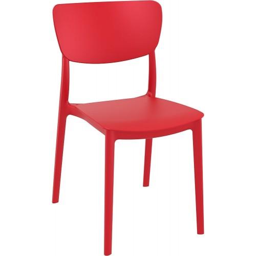 Stylowe Krzesło z tworzywa Monna czerwone Siesta do stołu.