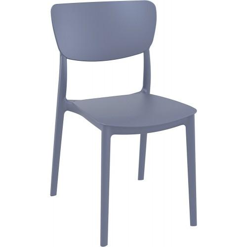 Stylowe Krzesło z tworzywa Monna ciemno szare Siesta do stołu.